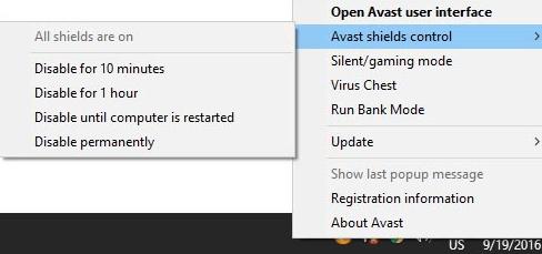 Temporarily disable antivirus