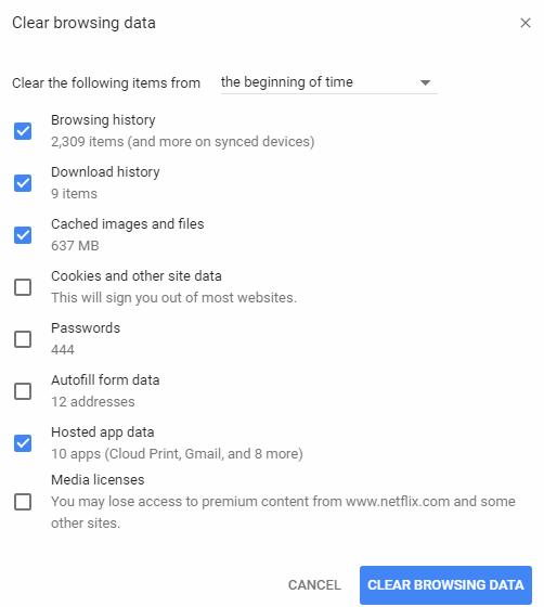 delete the browser's cache