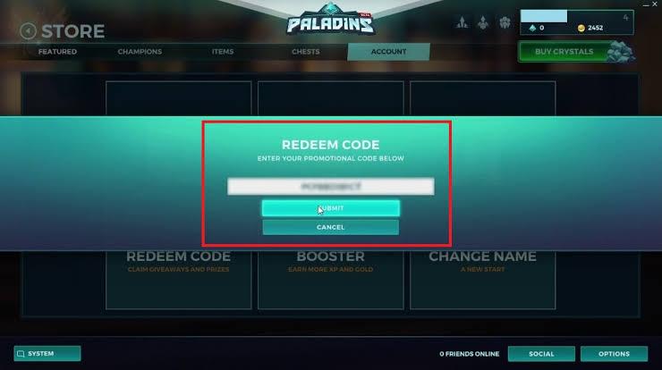 Paladins codes